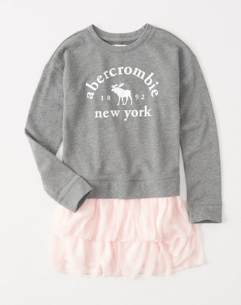 kids chiffon-skirt sweatshirt dress