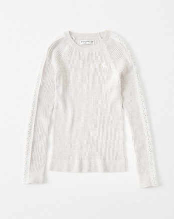 kids lace-sleeve icon pullover