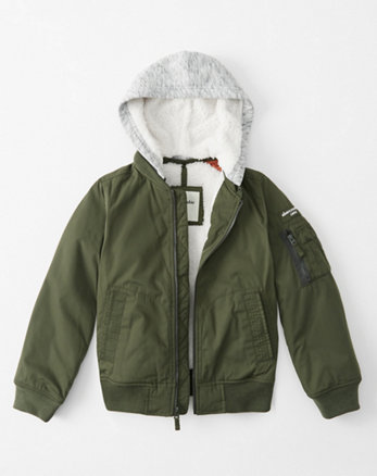 kids cozy hood bomber jacket