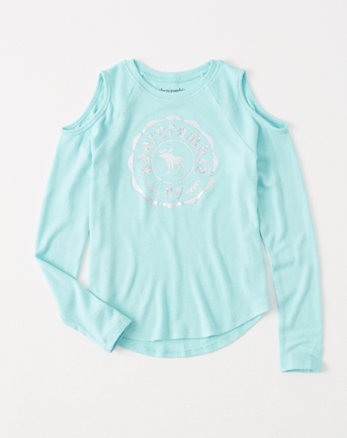 kids cozy cold-shoulder graphic tee