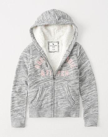 kids sherpa-lined sequin logo hoodie