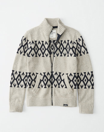 kids intarsia zip-up sweater