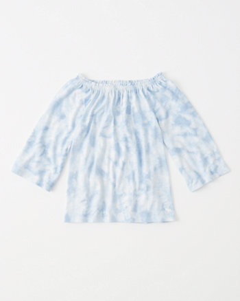 kids tie-dye off-the-shoulder top
