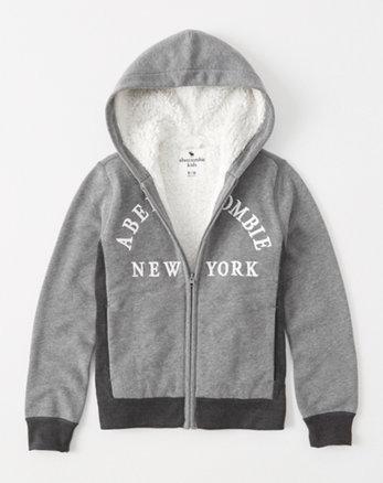kids sherpa-lined logo hoodie