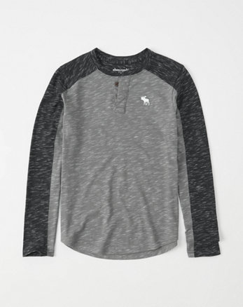 kids space-dye icon henley