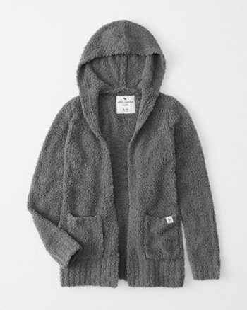 kids cozy hooded cardigan