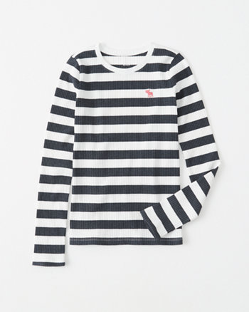 striped ribbed icon tee