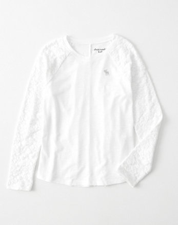 kids lace-sleeve icon raglan tee