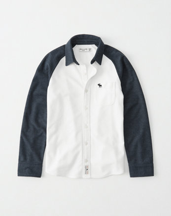 kids knit raglan button-up shirt
