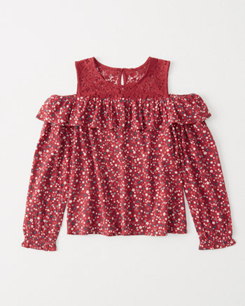 kids ruffle cold-shoulder top