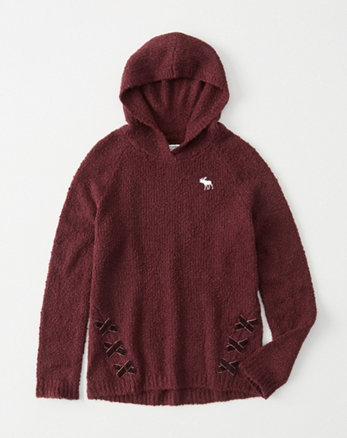 kids cozy velvet lace-up hoodie