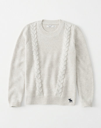 kids shine cable-knit sweater