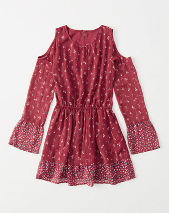 kids chiffon cold-shoulder dress