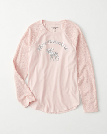 kids lace-sleeve shine graphic tee
