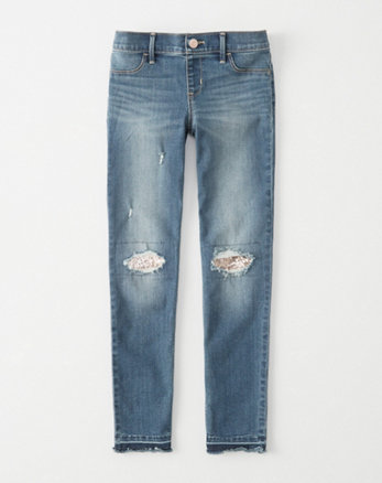 kids sequined pull-on jean legging