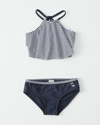 kids High-Neck Flounce Two-Piece Swimsuit