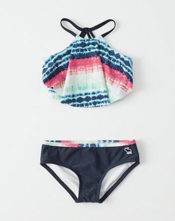 kids High-Neck Flounce Two-Piece Swimsuit