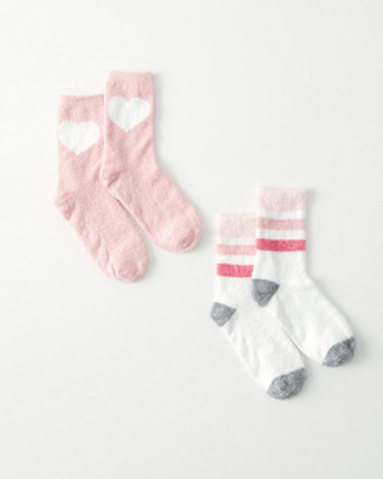 kids two-pair fuzzy socks set