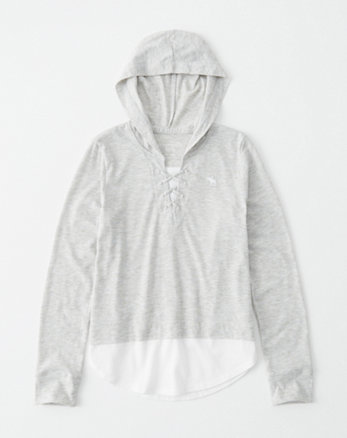 kids lace-up twofer hoodie