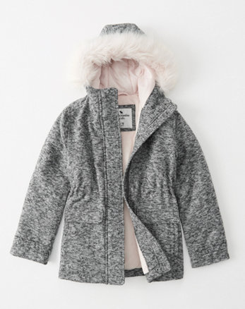 kids faux wool parka