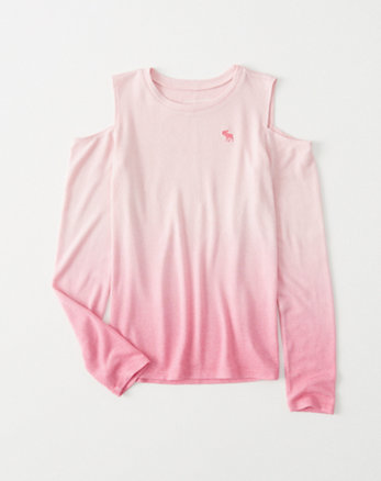 kids dip-dye cozy cold-shoulder tee
