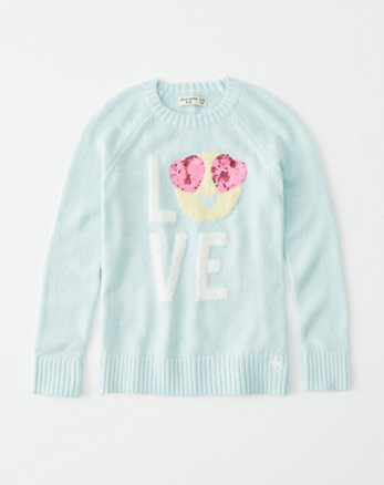 kids shine intarsia graphic sweater