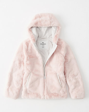 kids faux fur full-zip jacket