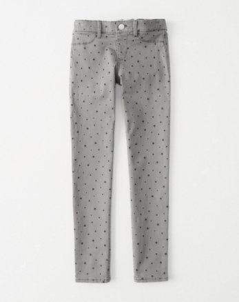 kids star print pull-on jean leggings