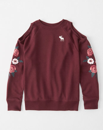 kids embroidered cold-shoulder pullover