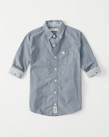 kids stretch poplin icon button-up shirt
