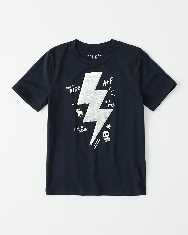 Flip Sequin Graphic Tee by Abercrombie & Fitch