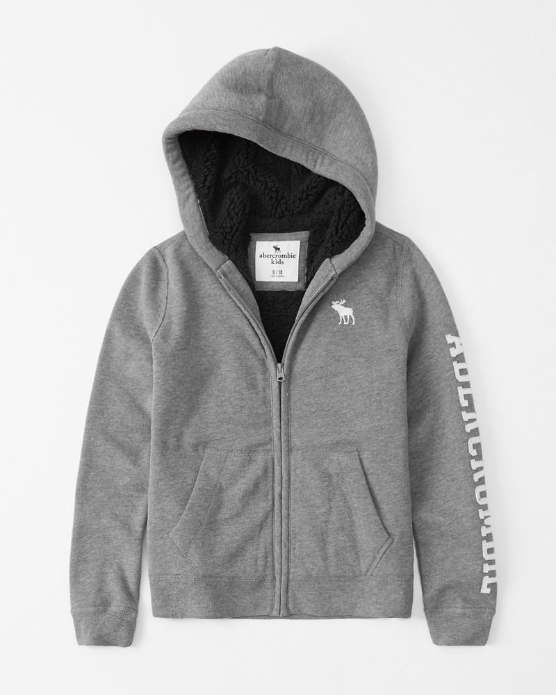 Boys Logo Sherpa Lined Hoodie Boys New Arrivals Abercrombie Co Uk