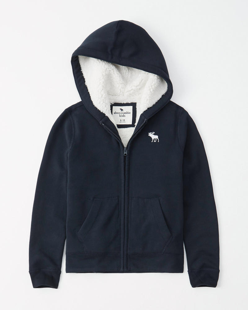 Boys Icon Sherpa Lined Hoodie Boys Tops Abercrombie Com