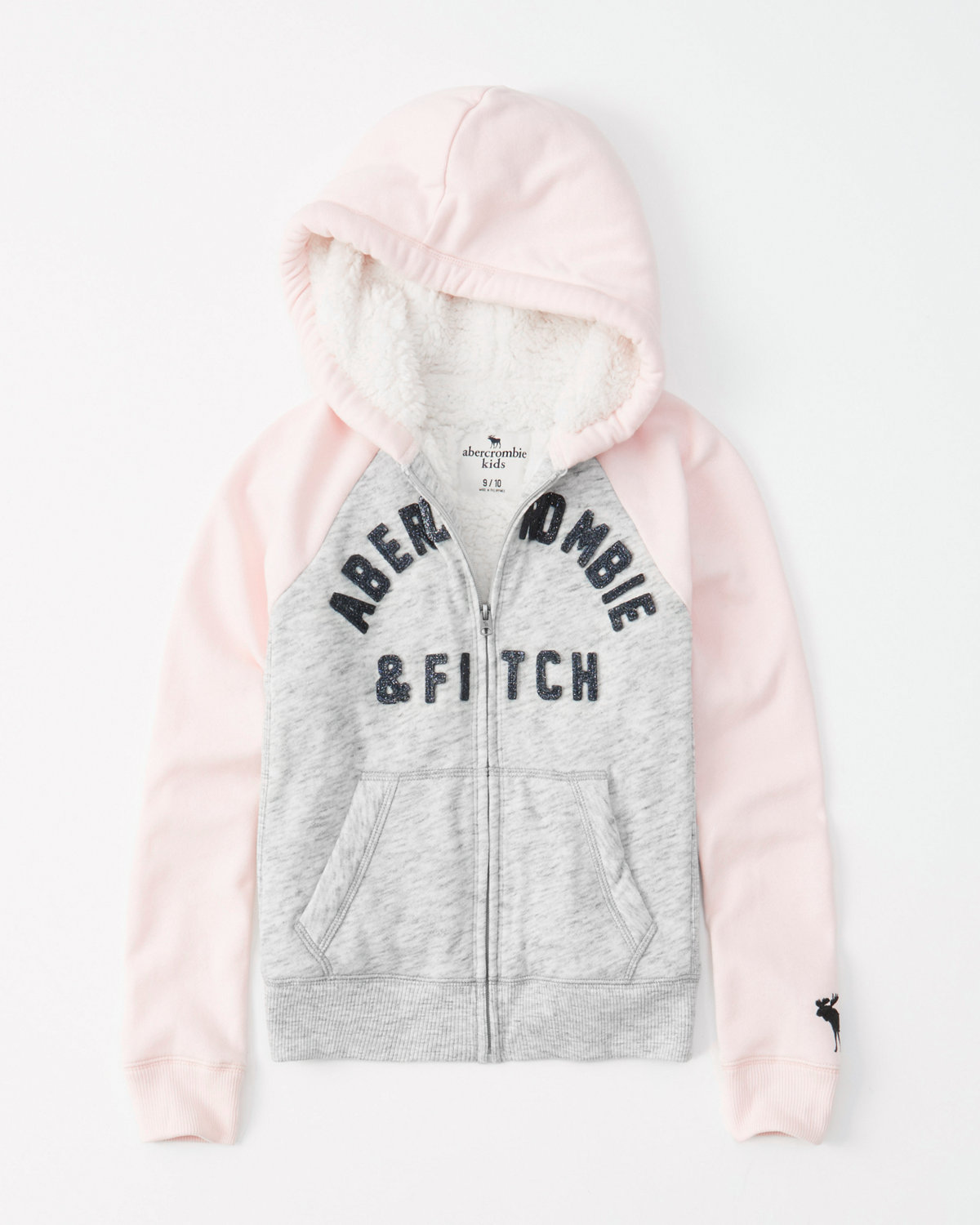 Colorblock Sherpa Full Zip Hoodie by Abercrombie & Fitch