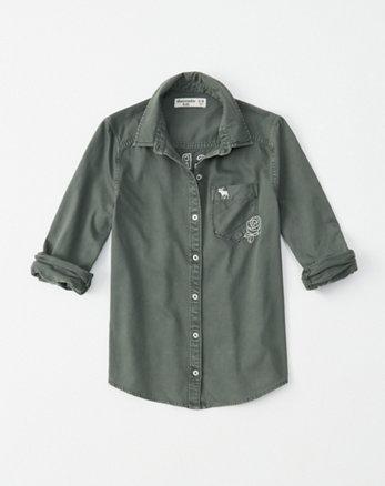 6594837f32e twill button-up shirt