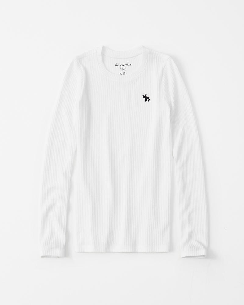 Cozy Ribbed Crewneck Tee by Abercrombie & Fitch