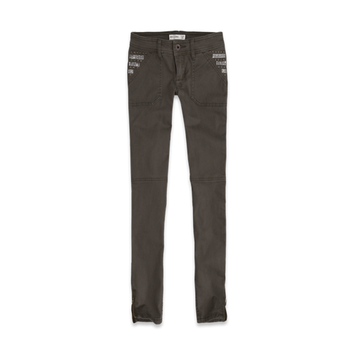girls a&f military shine pocket pants