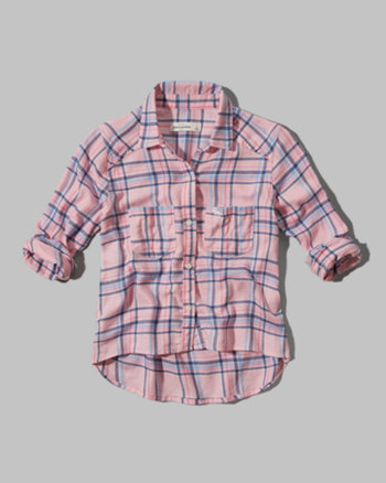 kids cropped plaid shirt