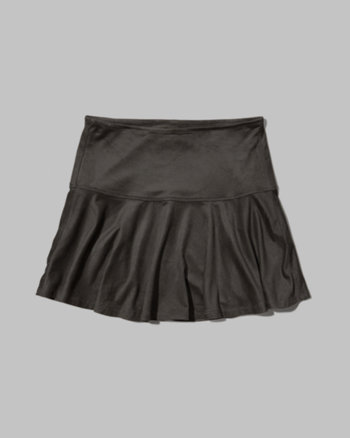 kids dropwaist suede skater skirt