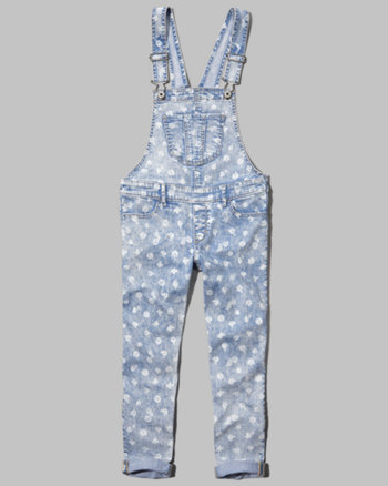 kids a&f floral printed overalls
