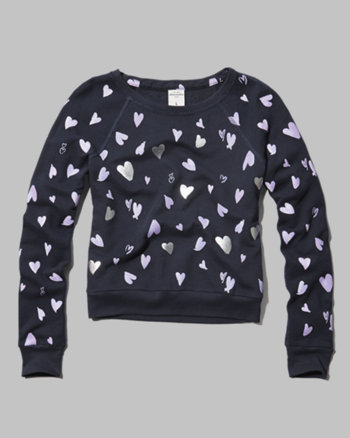 kids all-over hearts sweatshirt
