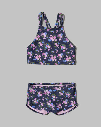 kids floral high neckline two-piece swimsuit