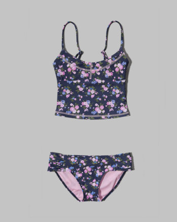 kids floral tankini two-piece swimsuit