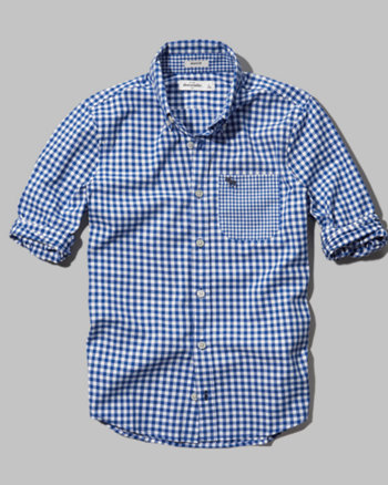 kids contrast check button-down shirt