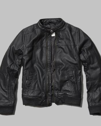 kids faux leather moto jacket