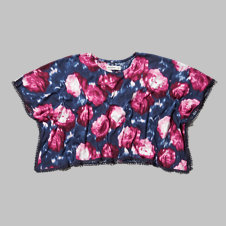 girls cropped floral poncho
