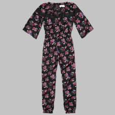 girls floral peasant jumpsuit