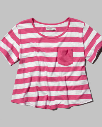 kids striped pocket crop top