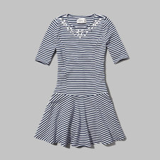 girls cute striped skater dress