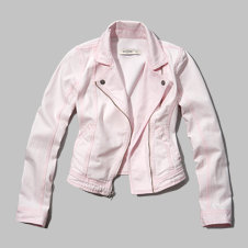girls pink denim biker jacket